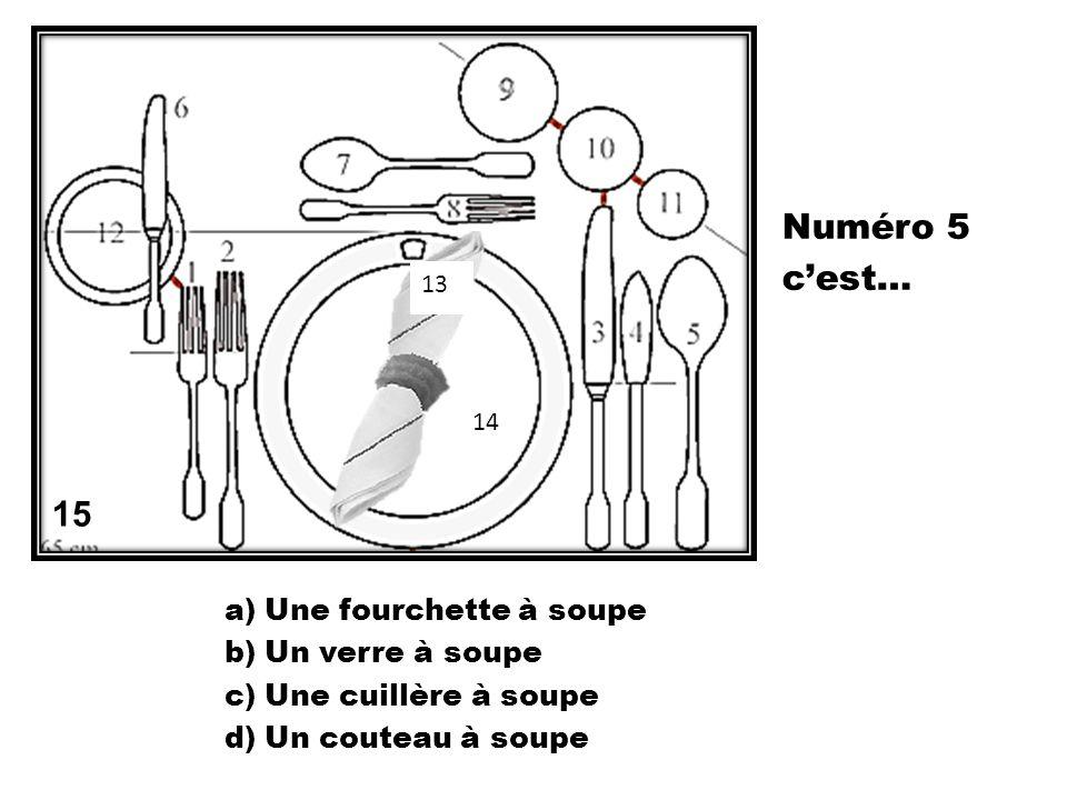 Numéro 5 c'est… 15 Une fourchette à soupe Un verre à soupe
