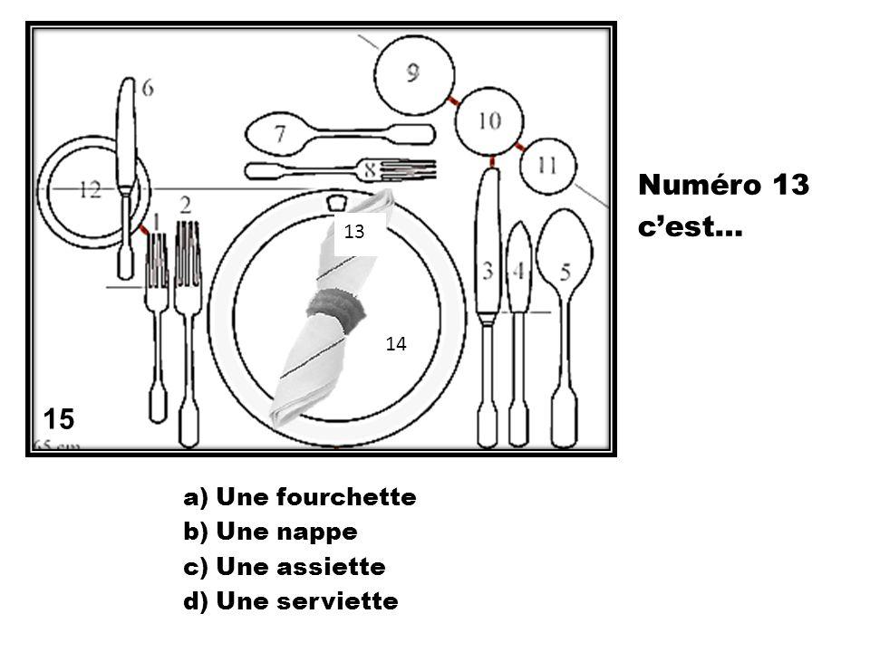 Numéro 13 c'est… 15 Une fourchette Une nappe Une assiette