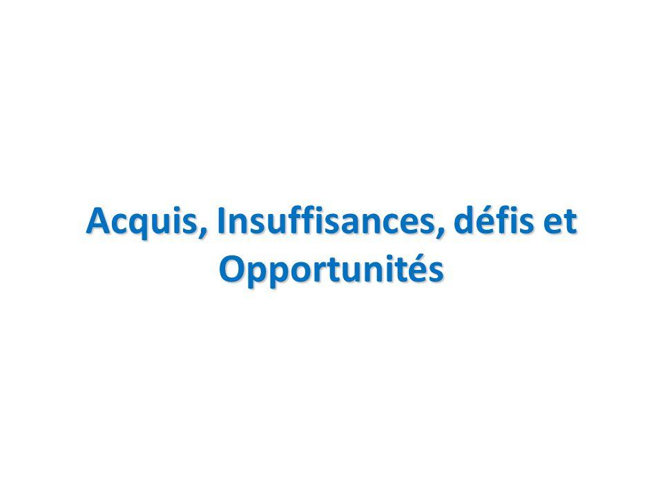 Acquis, Insuffisances, défis et Opportunités