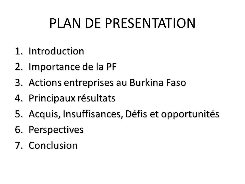 PLAN DE PRESENTATION Introduction Importance de la PF
