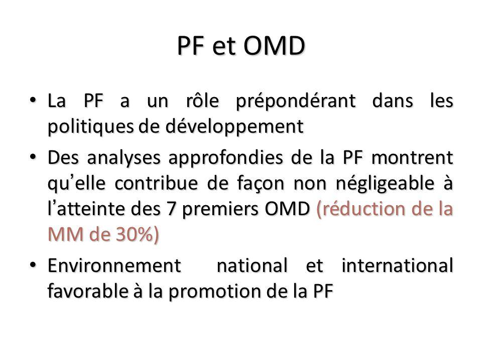PF et OMD La PF a un rôle prépondérant dans les politiques de développement.