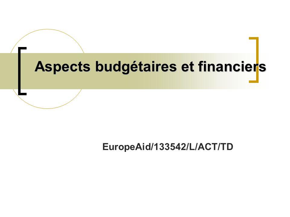 Aspects budgétaires et financiers