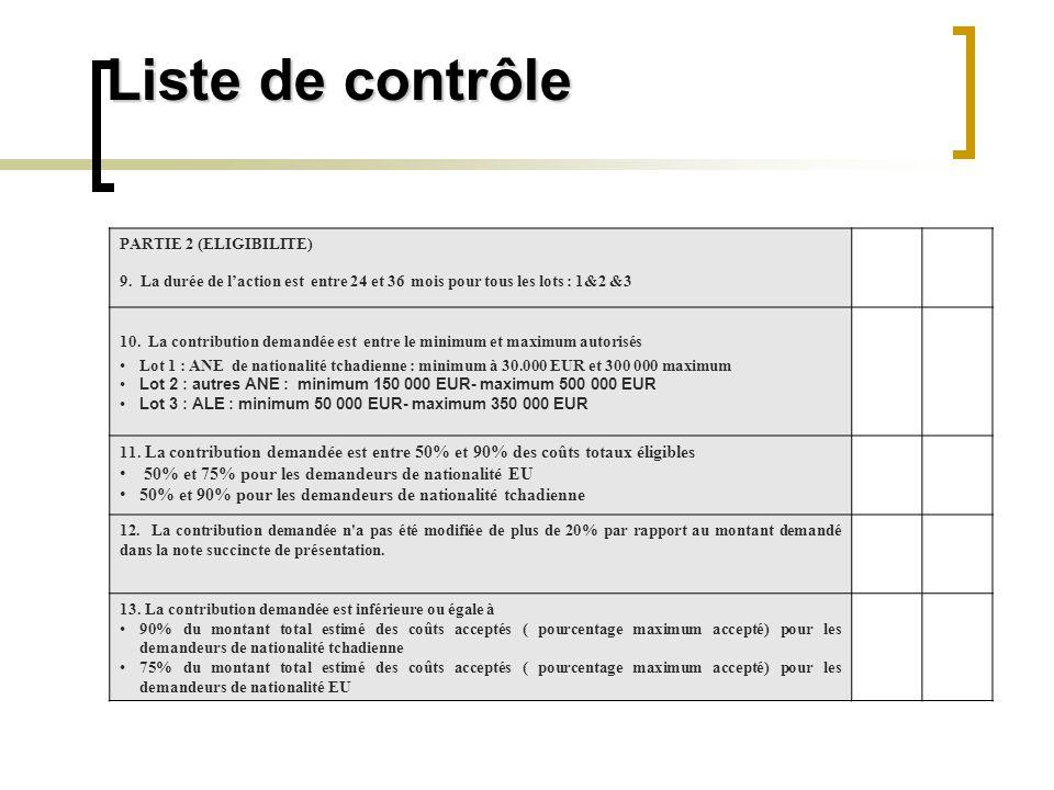 Liste de contrôle 50% et 75% pour les demandeurs de nationalité EU