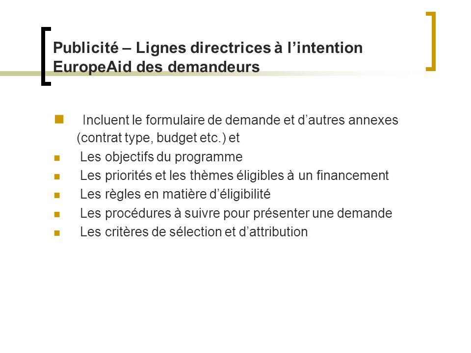 Publicité – Lignes directrices à l'intention EuropeAid des demandeurs