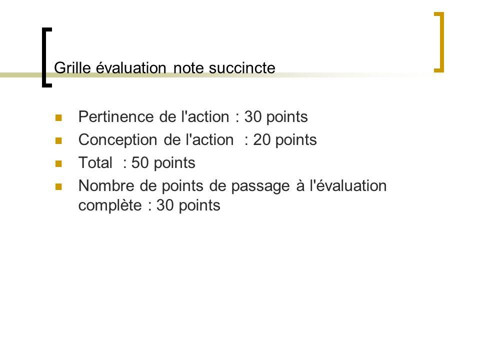 Grille évaluation note succincte