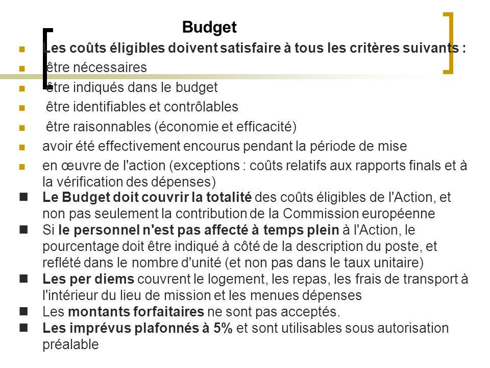 Budget Les coûts éligibles doivent satisfaire à tous les critères suivants : être nécessaires. être indiqués dans le budget.