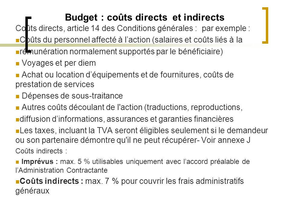 Budget : coûts directs et indirects