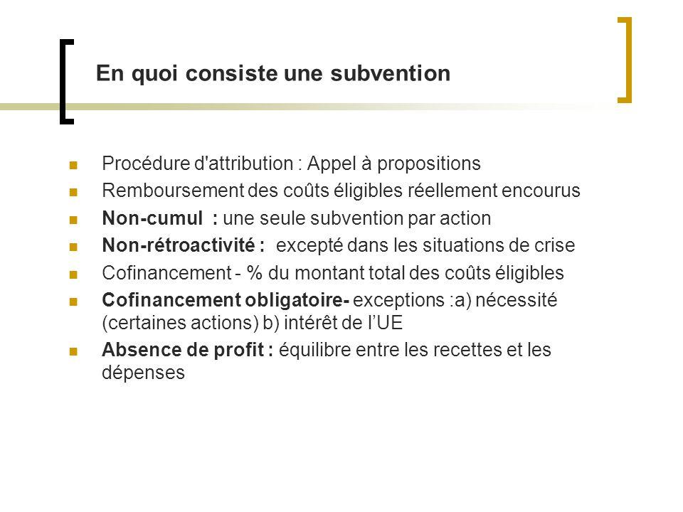 En quoi consiste une subvention