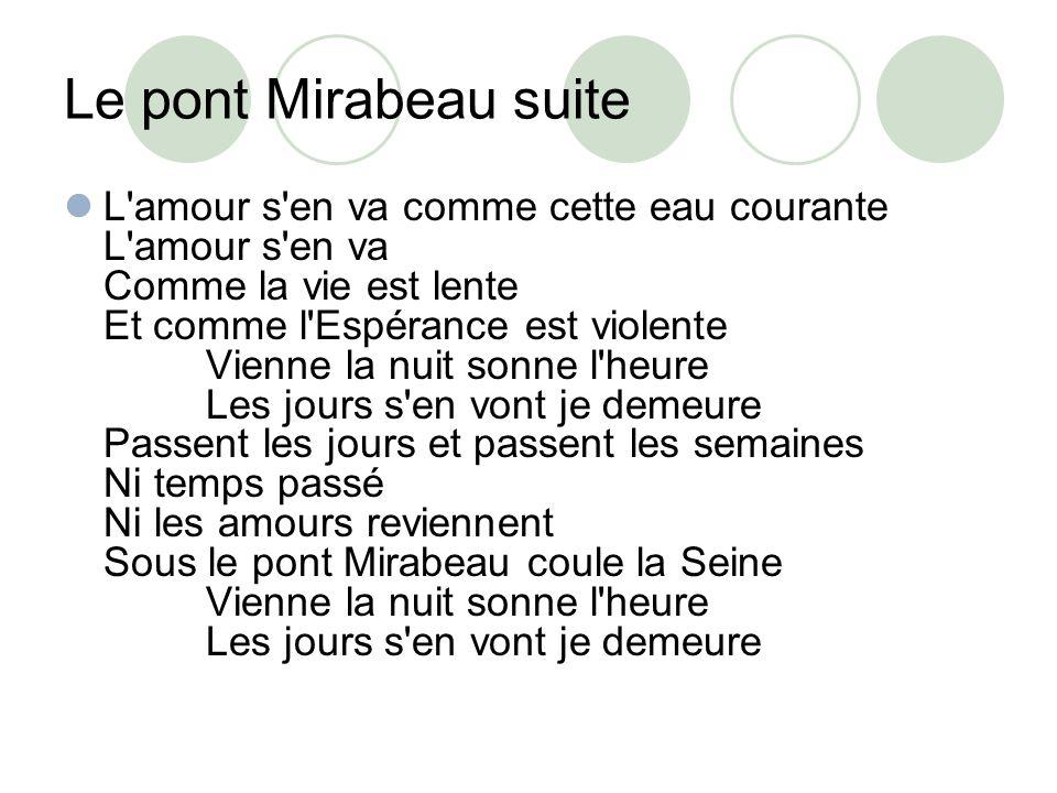 Le pont Mirabeau suite