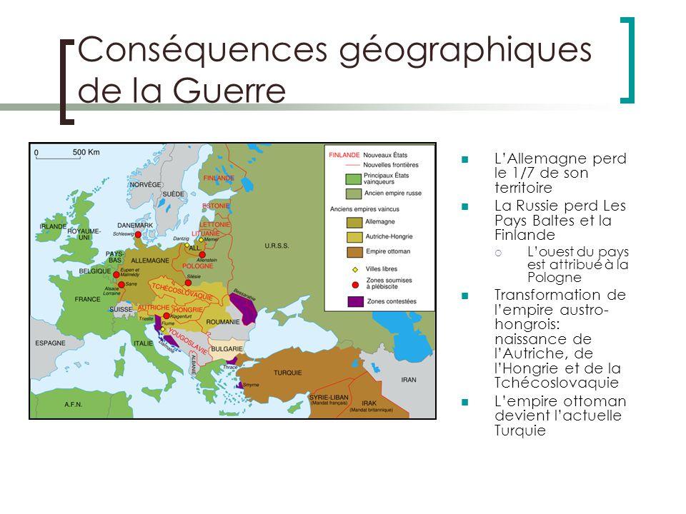 Conséquences géographiques de la Guerre