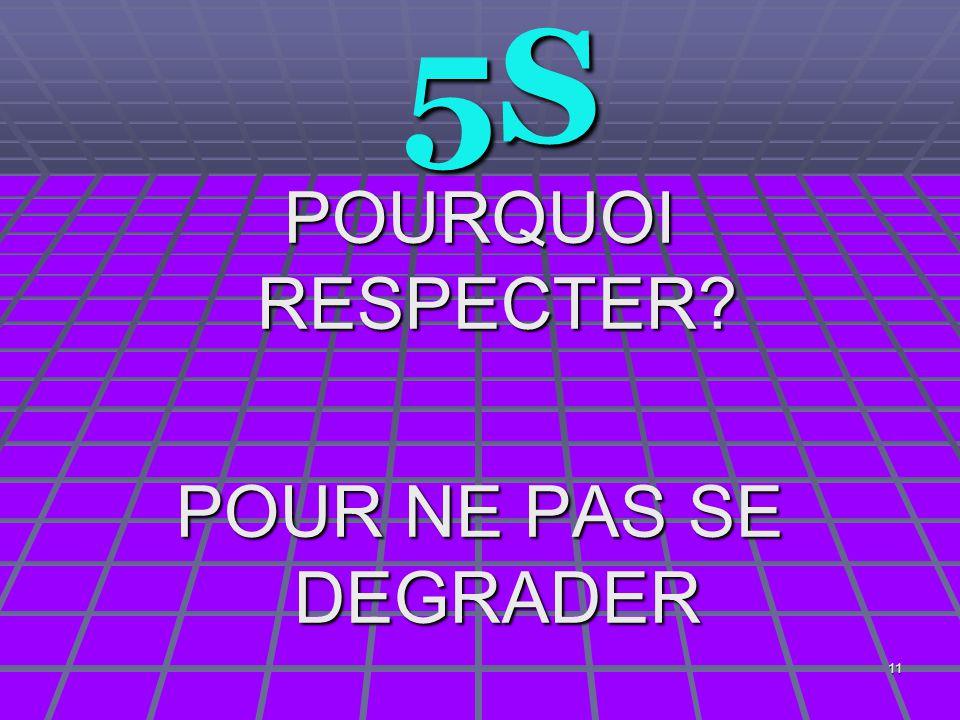 5S POURQUOI RESPECTER POUR NE PAS SE DEGRADER
