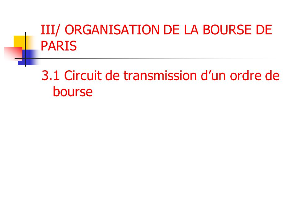 III/ ORGANISATION DE LA BOURSE DE PARIS