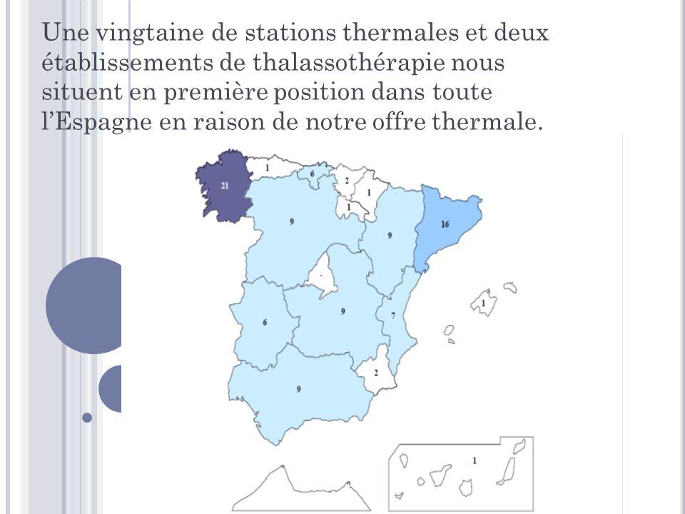 Une vingtaine de stations thermales et deux établissements de thalassothérapie nous situent en première position dans toute l'Espagne en raison de notre offre thermale.
