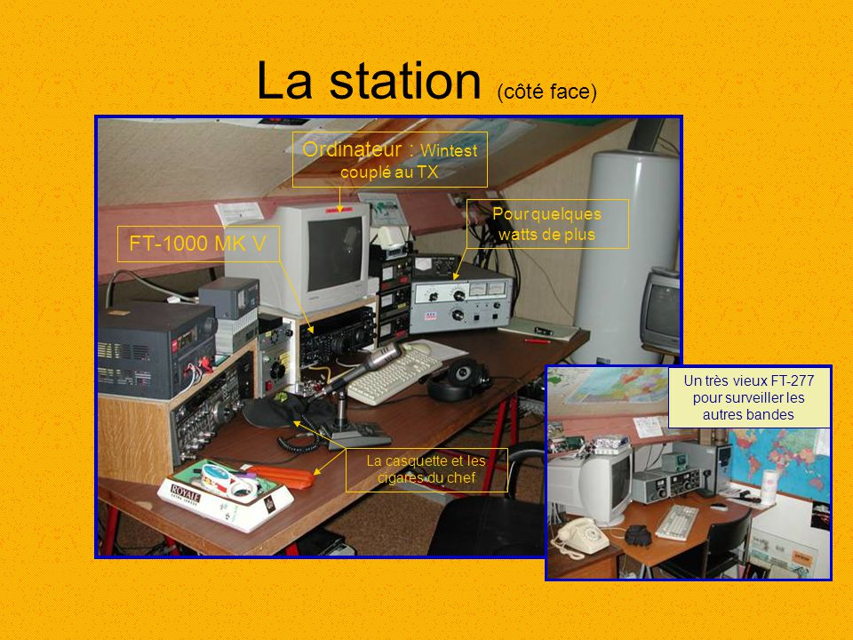 La station (côté face) Ordinateur : Wintest couplé au TX FT-1000 MK V