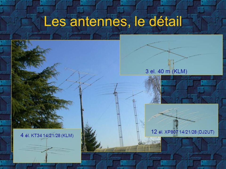 Les antennes, le détail 3 el. 40 m (KLM) 12 él. XP807 14/21/28 (DJ2UT)