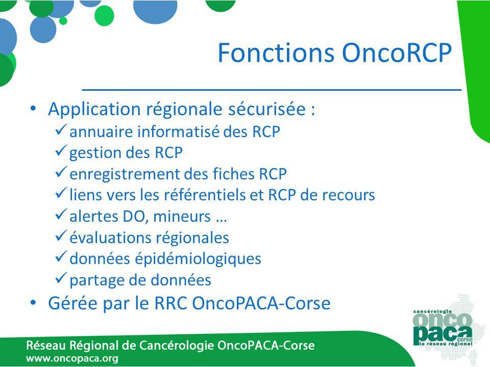 Fonctions OncoRCP Application régionale sécurisée :