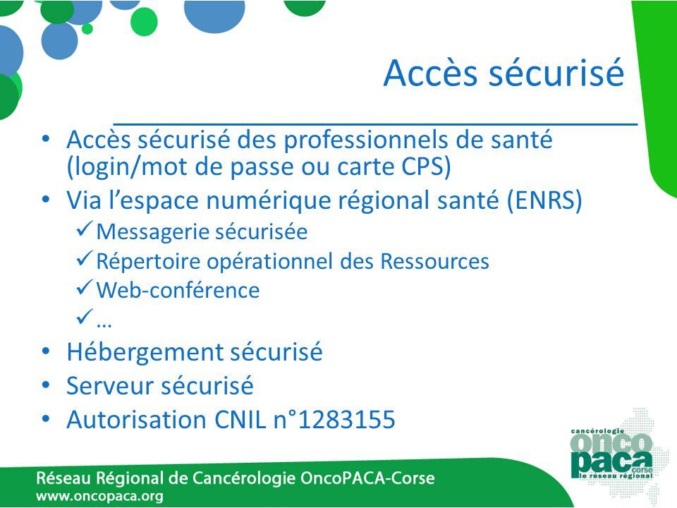 Accès sécurisé Accès sécurisé des professionnels de santé (login/mot de passe ou carte CPS) Via l'espace numérique régional santé (ENRS)