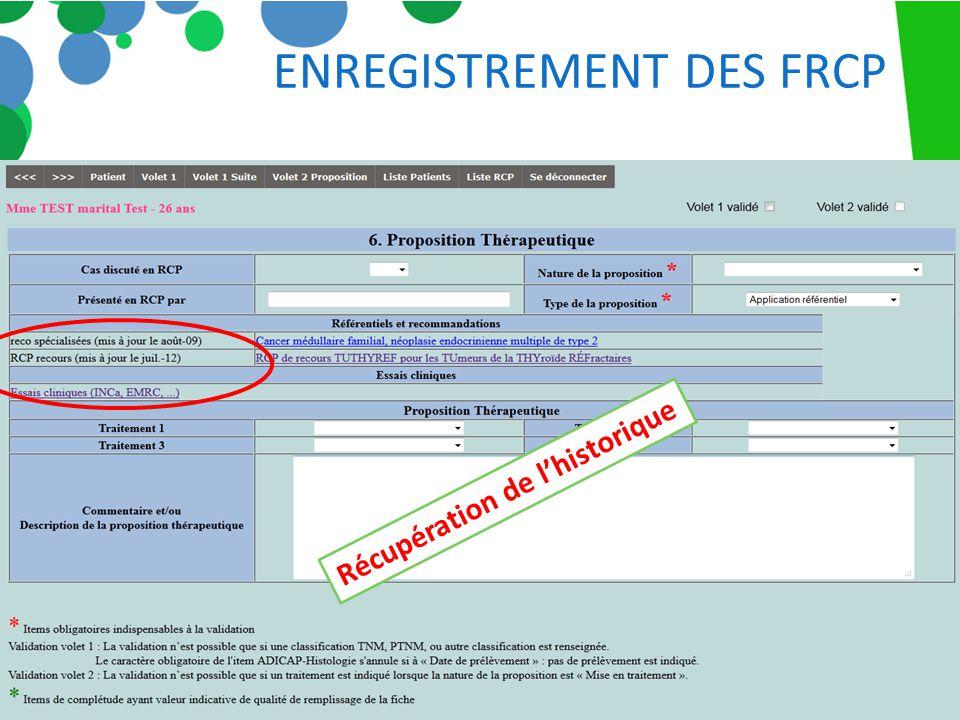 ENREGISTREMENT DES FRCP