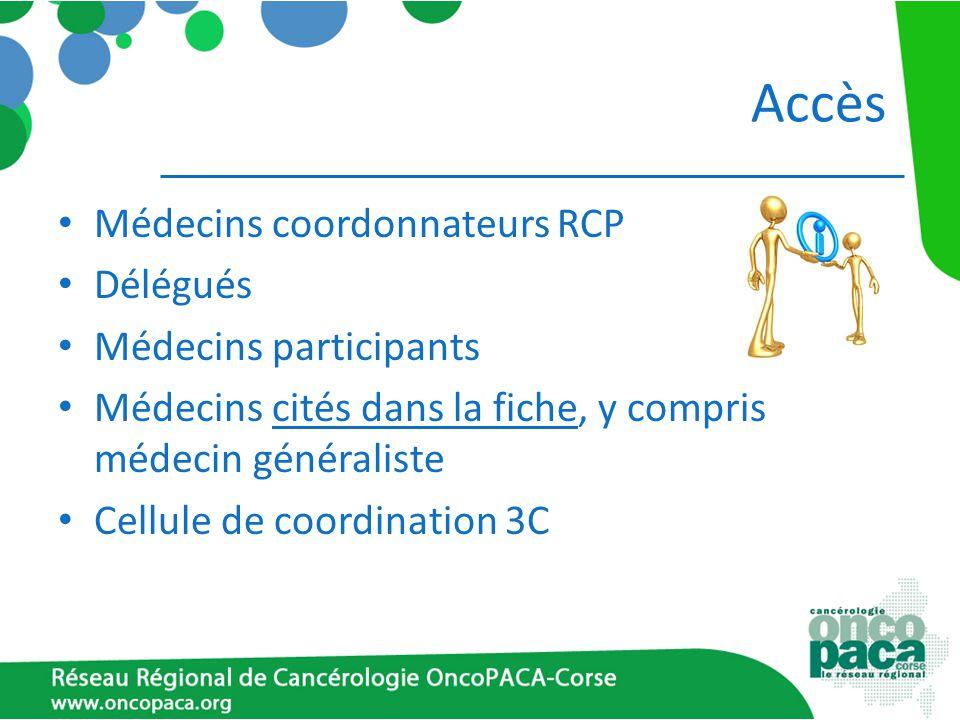 Accès Médecins coordonnateurs RCP Délégués Médecins participants