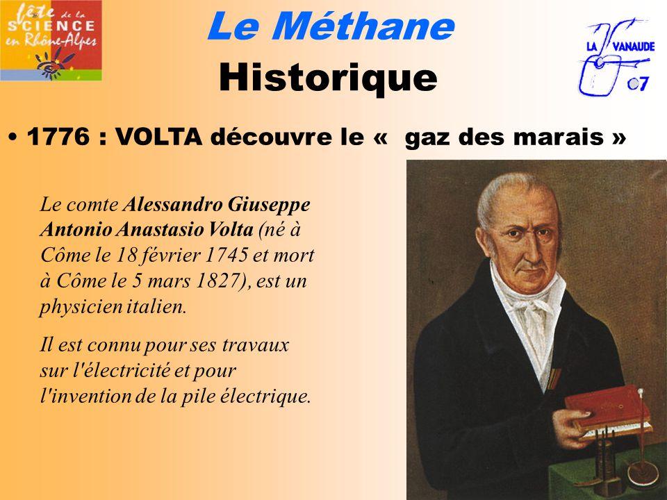 Le Méthane Historique 1776 : VOLTA découvre le « gaz des marais »