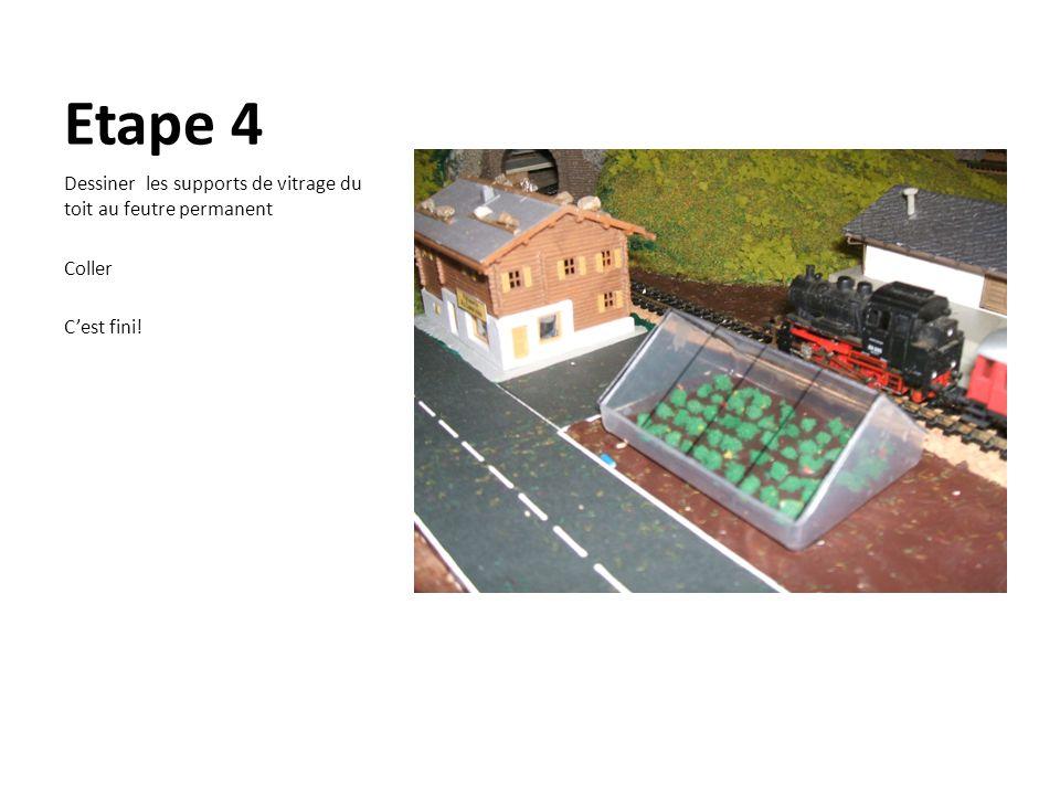 Etape 4 Dessiner les supports de vitrage du toit au feutre permanent