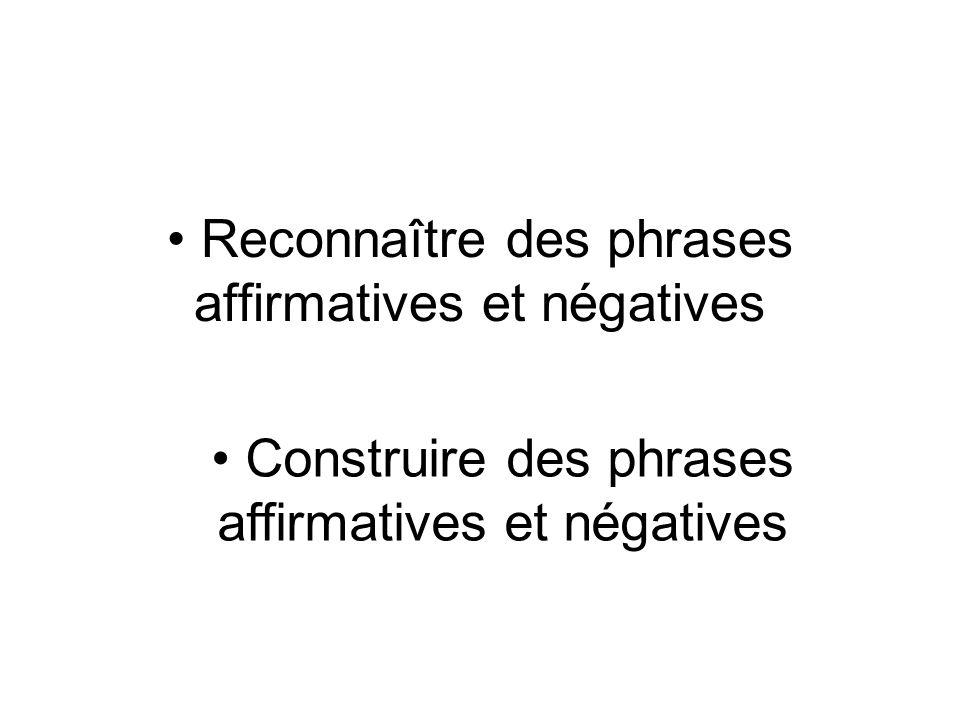 Reconnaître des phrases affirmatives et négatives
