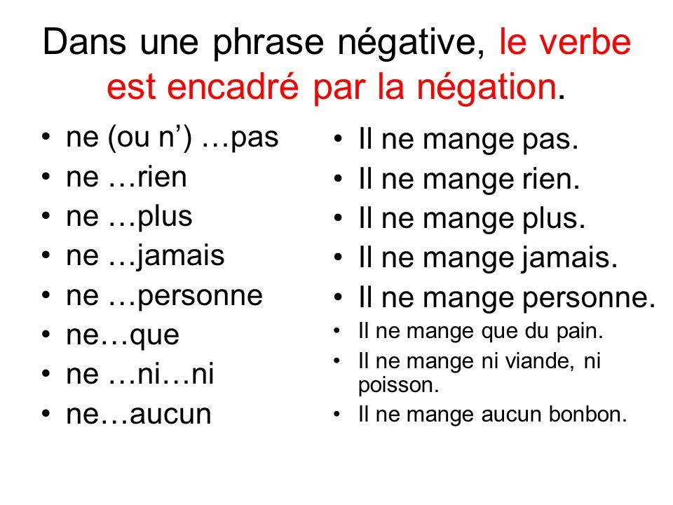 Dans une phrase négative, le verbe est encadré par la négation.