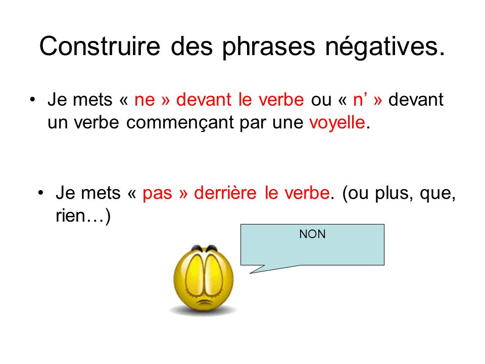 Construire des phrases négatives.