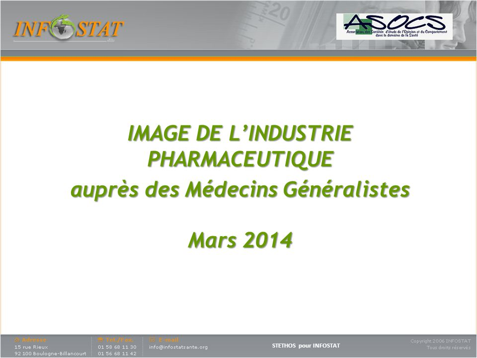 IMAGE DE L'INDUSTRIE PHARMACEUTIQUE