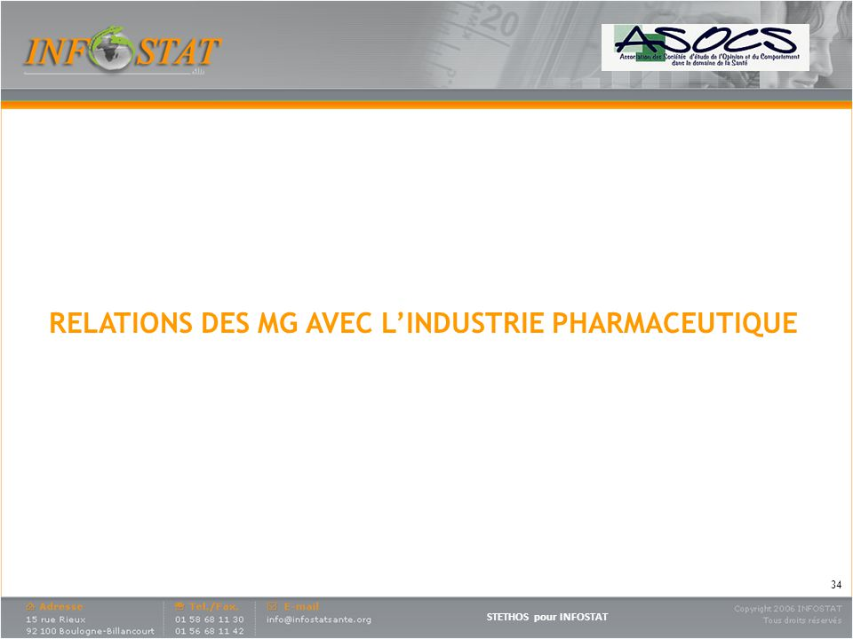 RELATIONS DES MG AVEC L'INDUSTRIE PHARMACEUTIQUE