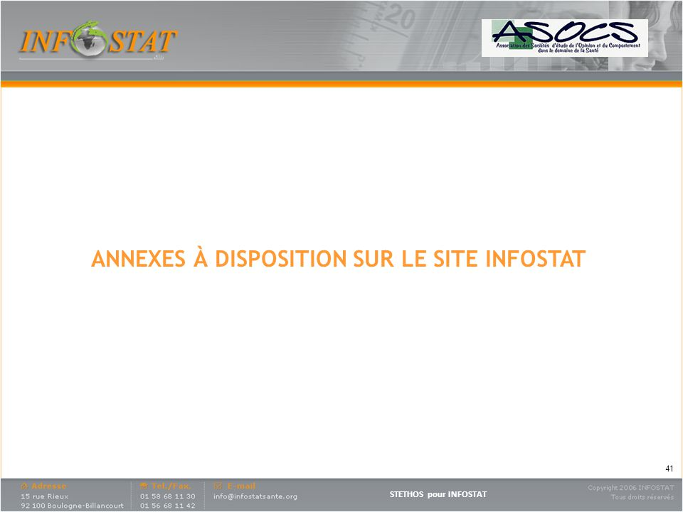 ANNEXES À DISPOSITION SUR LE SITE INFOSTAT