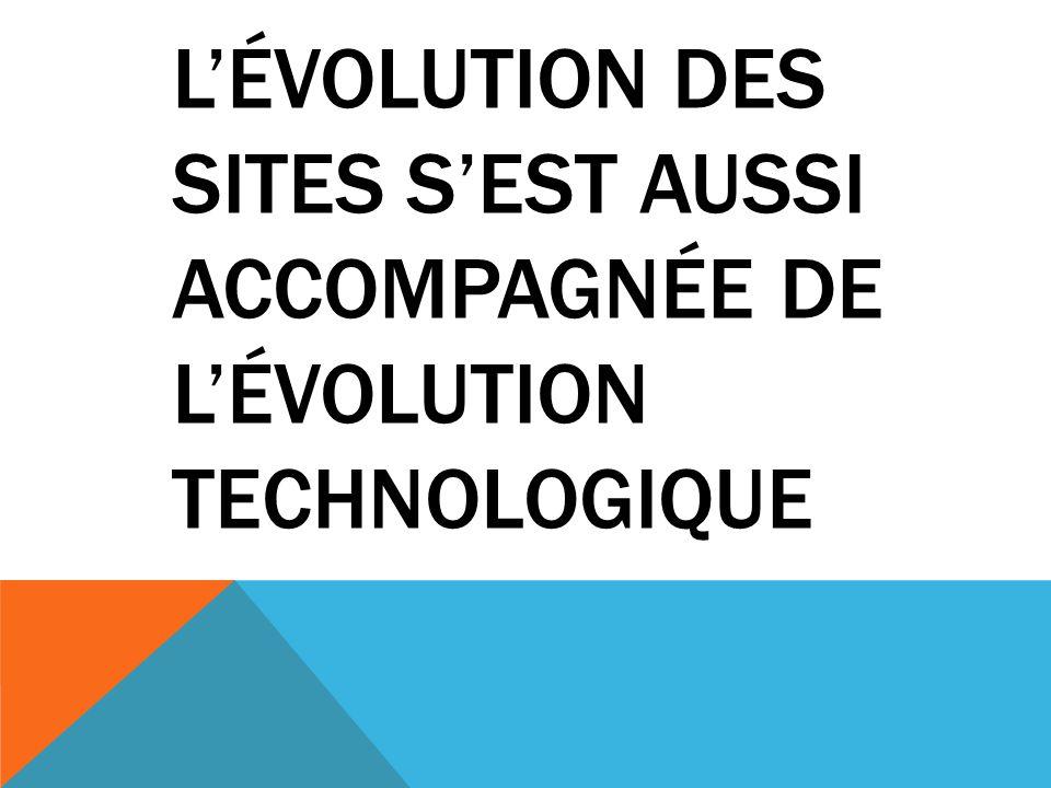 L'évolution des sites s'est aussi accompagnée de l'évolution technologique