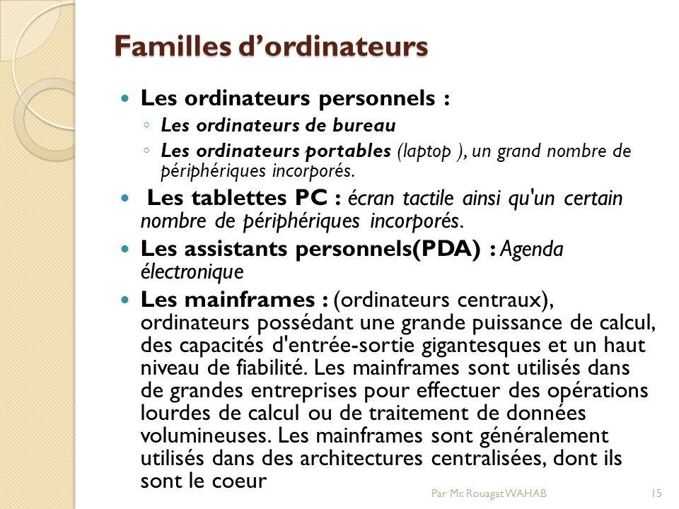 Familles d'ordinateurs