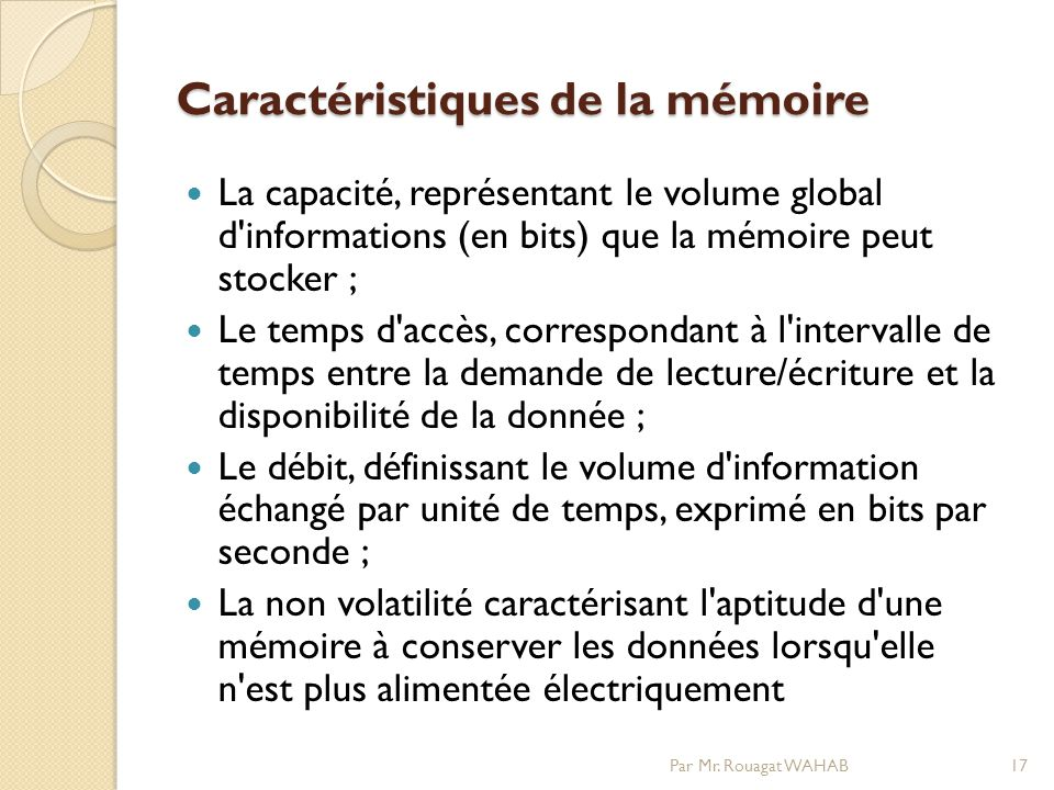 Caractéristiques de la mémoire