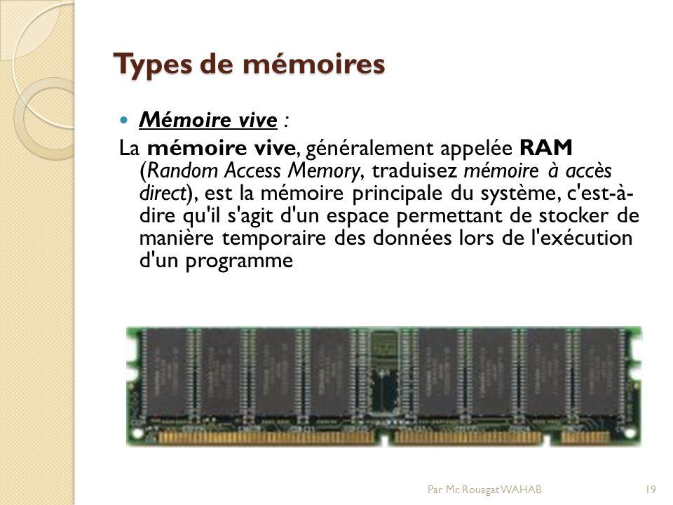 Types de mémoires Mémoire vive :