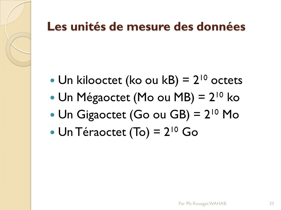 Les unités de mesure des données