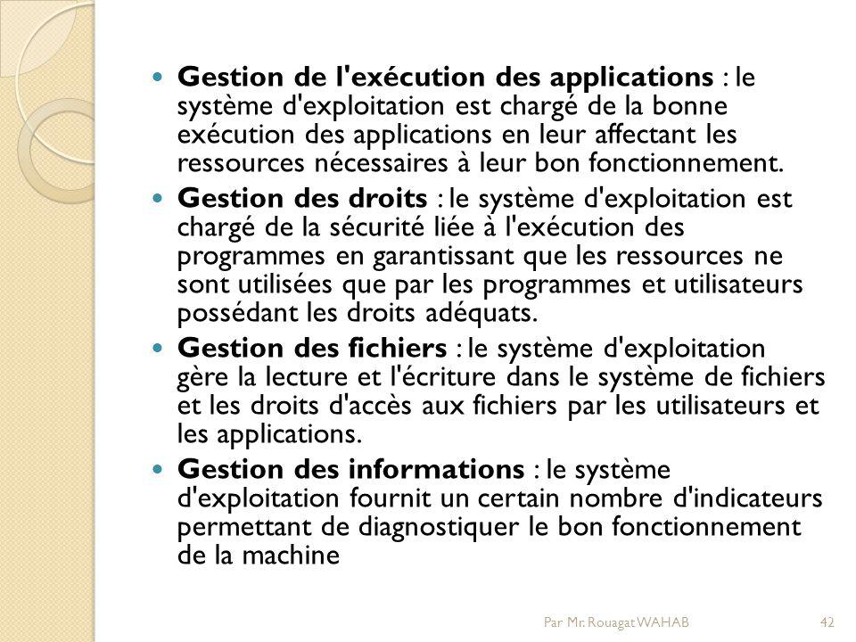 Gestion de l exécution des applications : le système d exploitation est chargé de la bonne exécution des applications en leur affectant les ressources nécessaires à leur bon fonctionnement.
