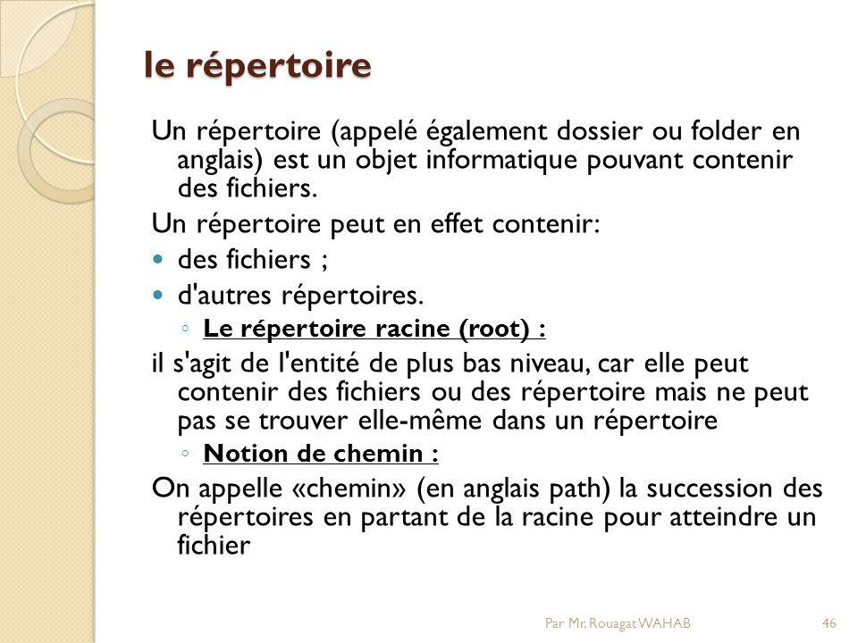 le répertoire Un répertoire (appelé également dossier ou folder en anglais) est un objet informatique pouvant contenir des fichiers.