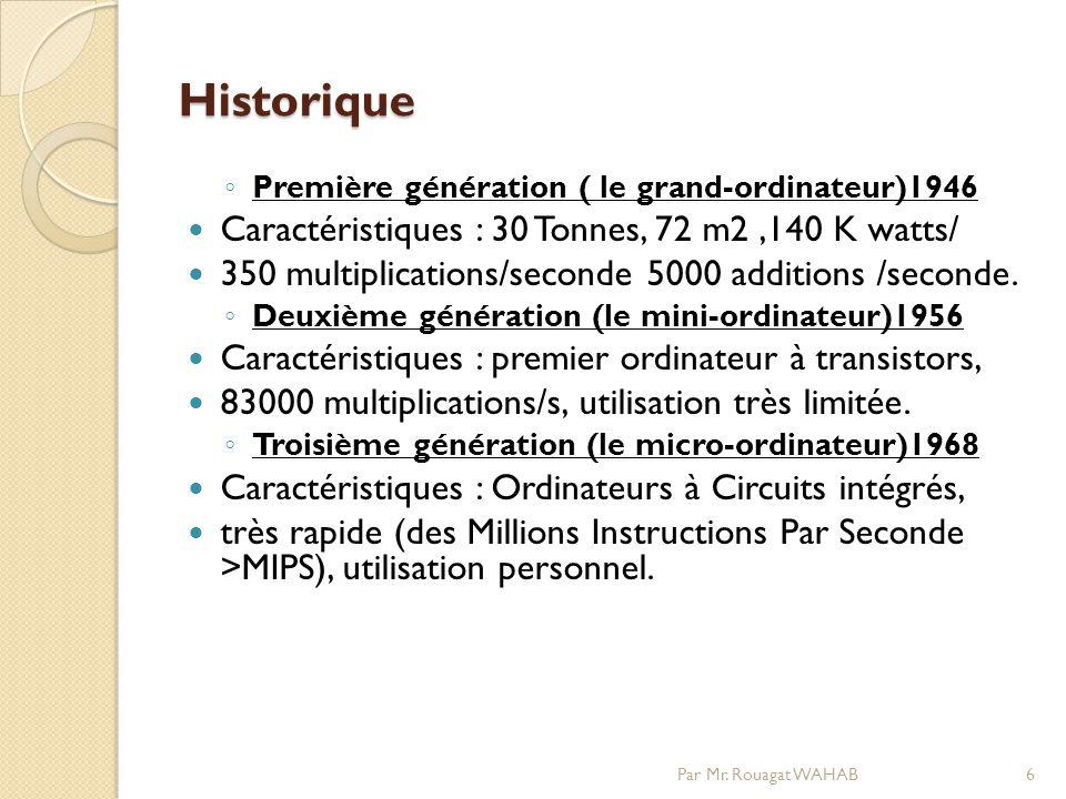 Historique Caractéristiques : 30 Tonnes, 72 m2 ,140 K watts/