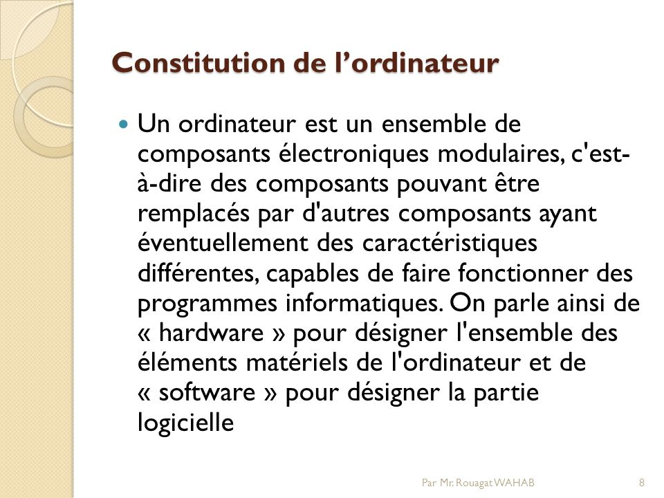 Constitution de l'ordinateur