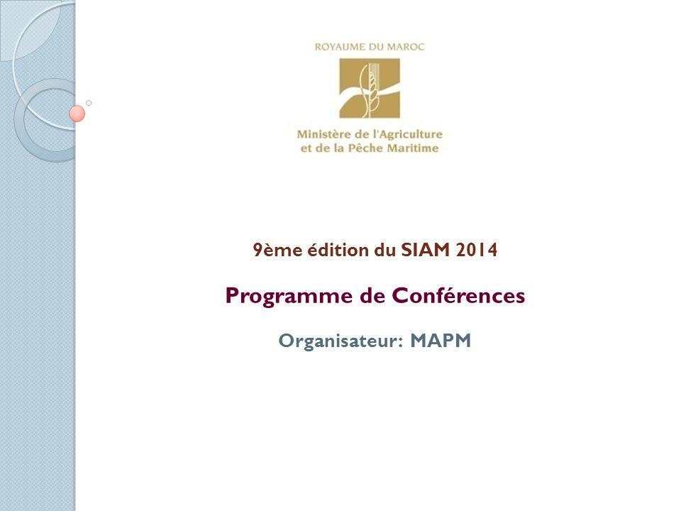 Programme de Conférences Organisateur: MAPM