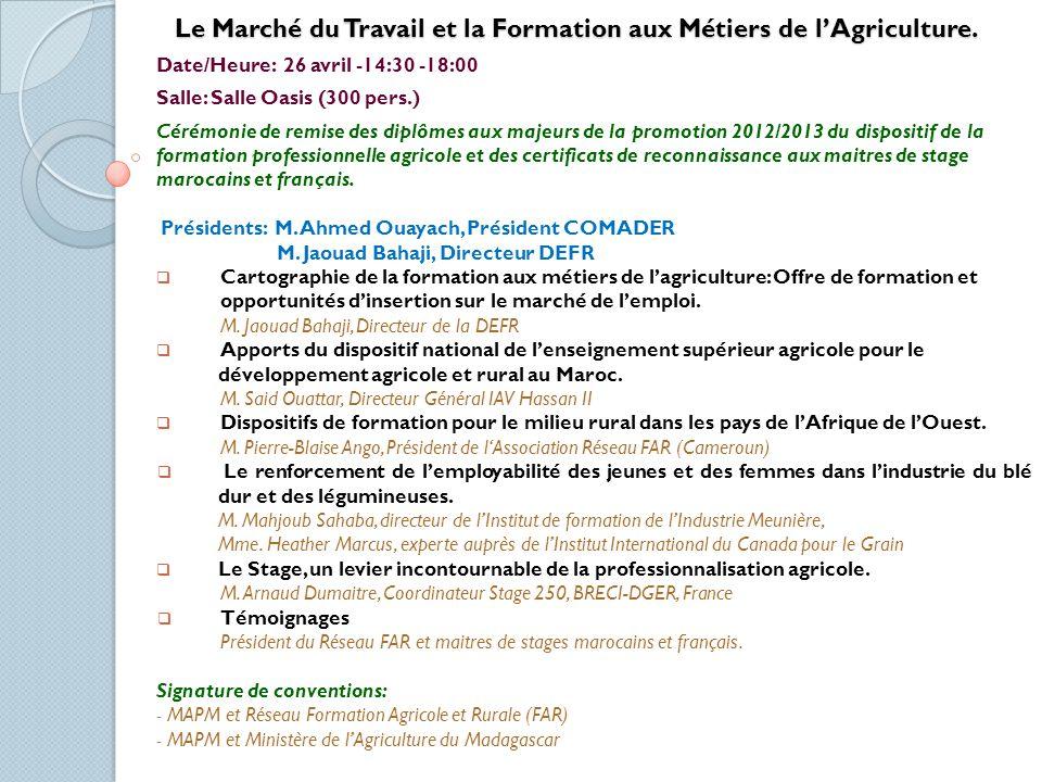 Le Marché du Travail et la Formation aux Métiers de l'Agriculture.