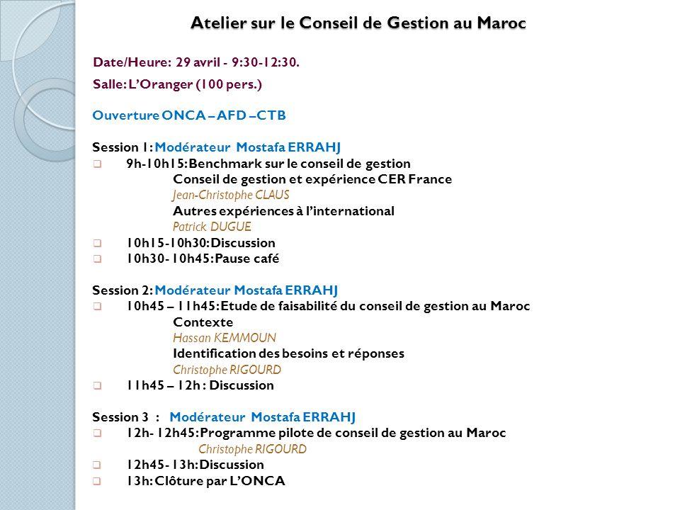 Atelier sur le Conseil de Gestion au Maroc