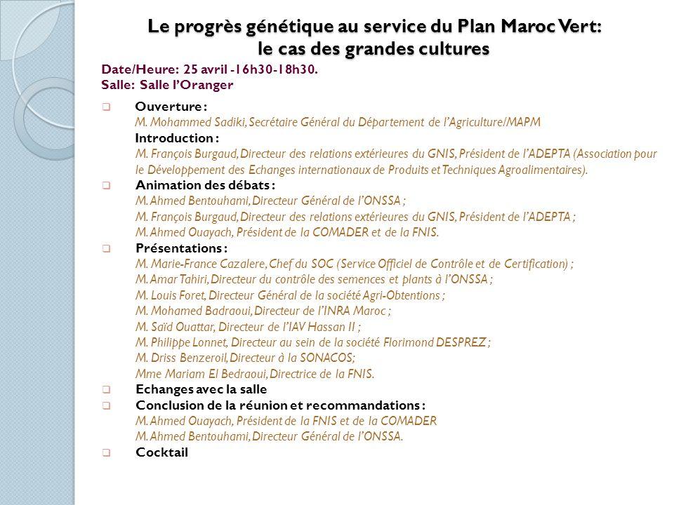 Le progrès génétique au service du Plan Maroc Vert: