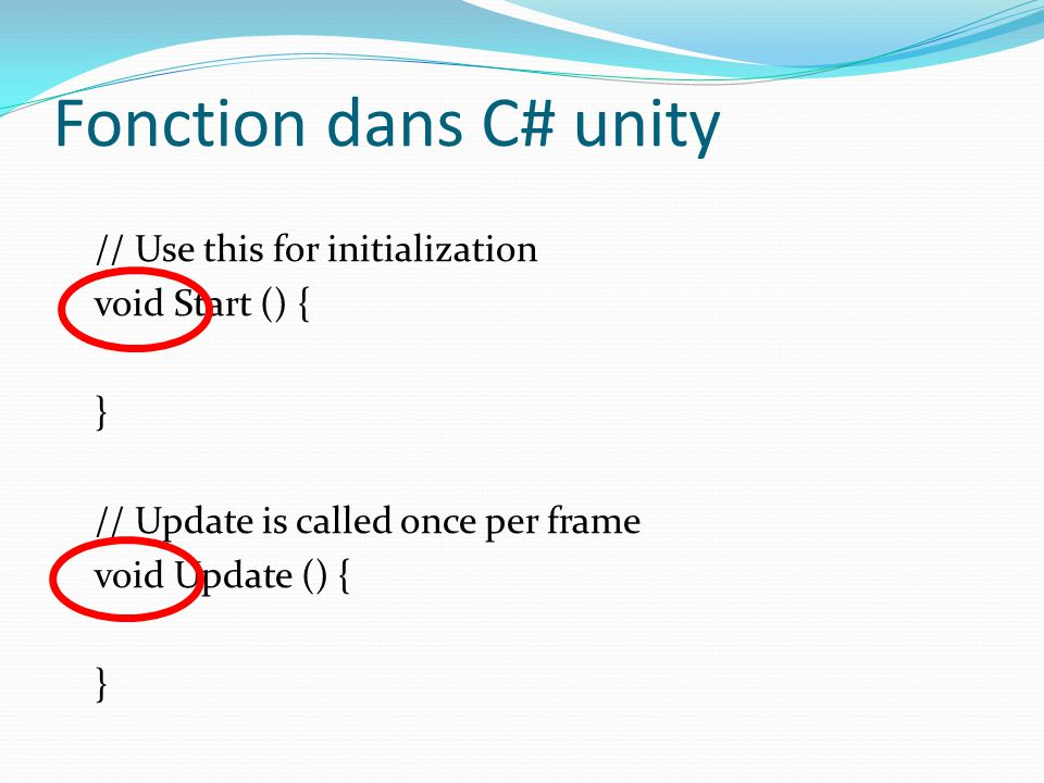 Fonction dans C# unity // Use this for initialization void Start () { } // Update is called once per frame void Update () {