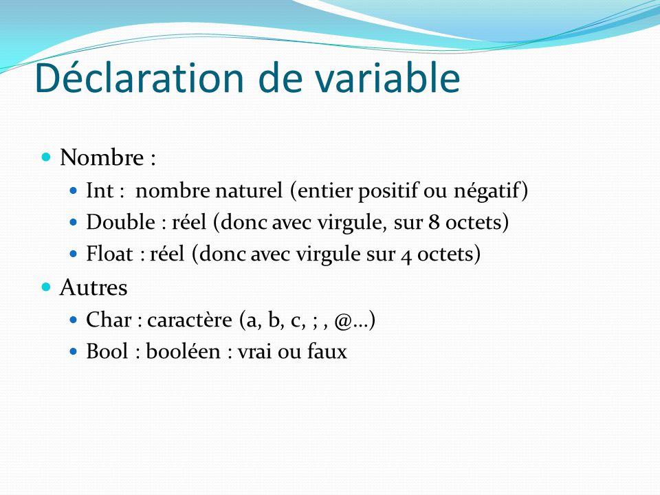 Déclaration de variable