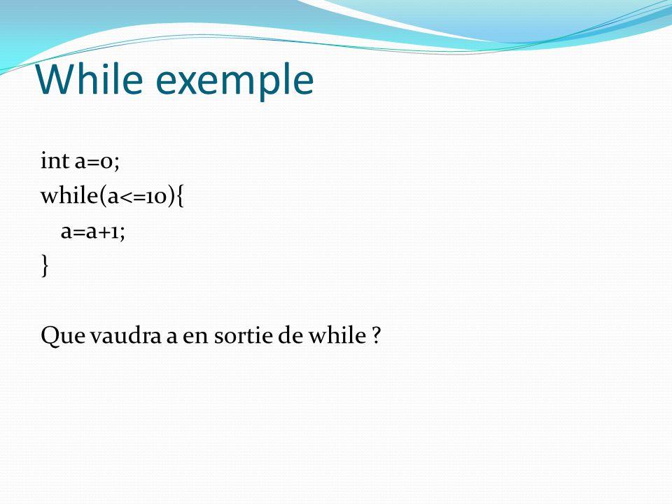 While exemple int a=0; while(a<=10){ a=a+1; } Que vaudra a en sortie de while