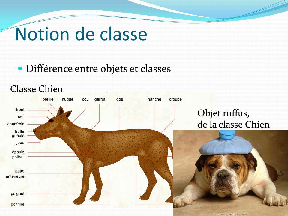 Notion de classe Différence entre objets et classes Classe Chien