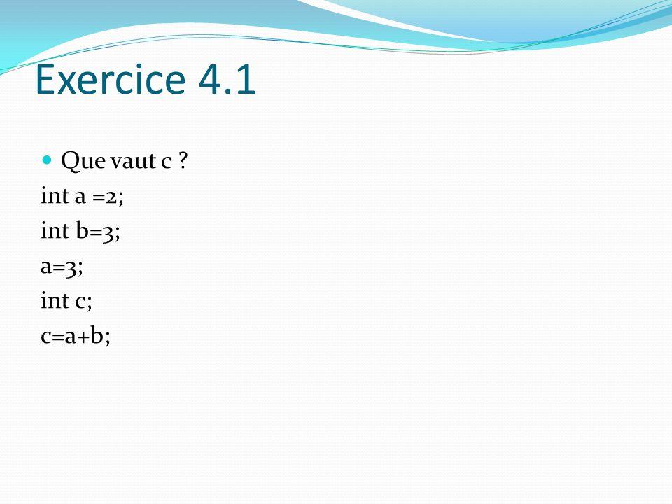 Exercice 4.1 Que vaut c int a =2; int b=3; a=3; int c; c=a+b;