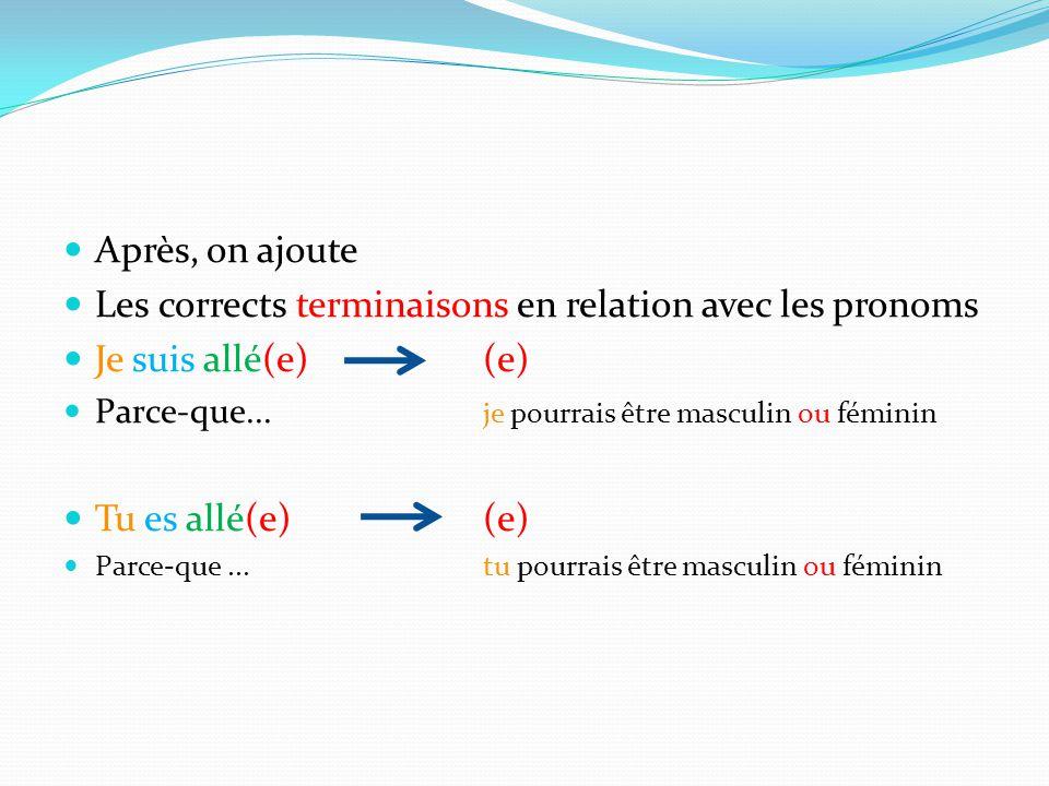 Les corrects terminaisons en relation avec les pronoms